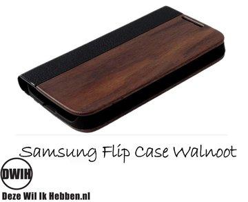 Samsung Galaxy S6 Edge flip case Walnoot en leer